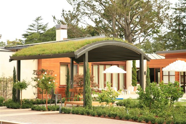 Green roof system installed on top of patio shelter, view facing the house