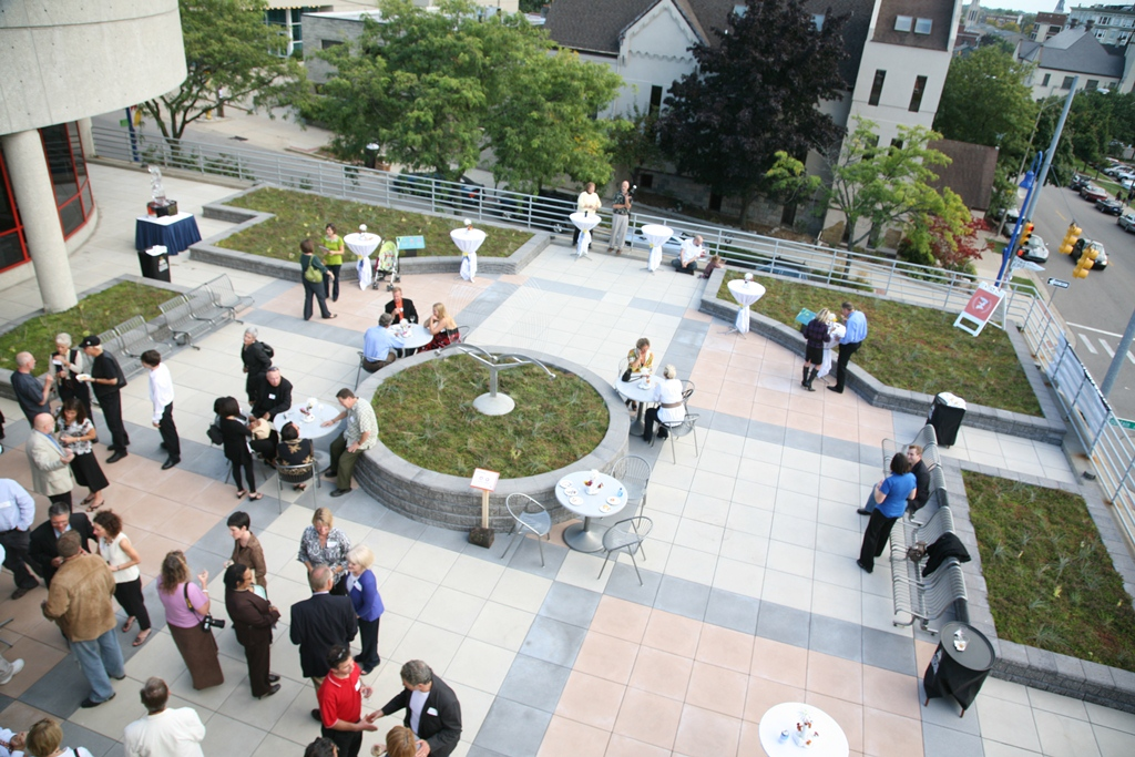 Overlooking entire installation as students and facility enjoy the patio