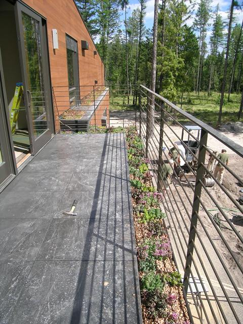 Green roof along railing of Private residence