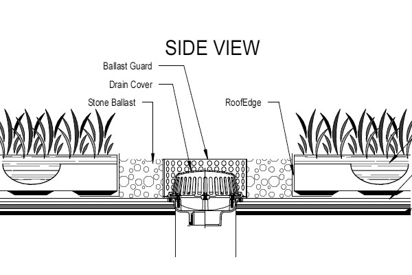 Green Roof Drain Detail using RoofEdge and Stone Ballast